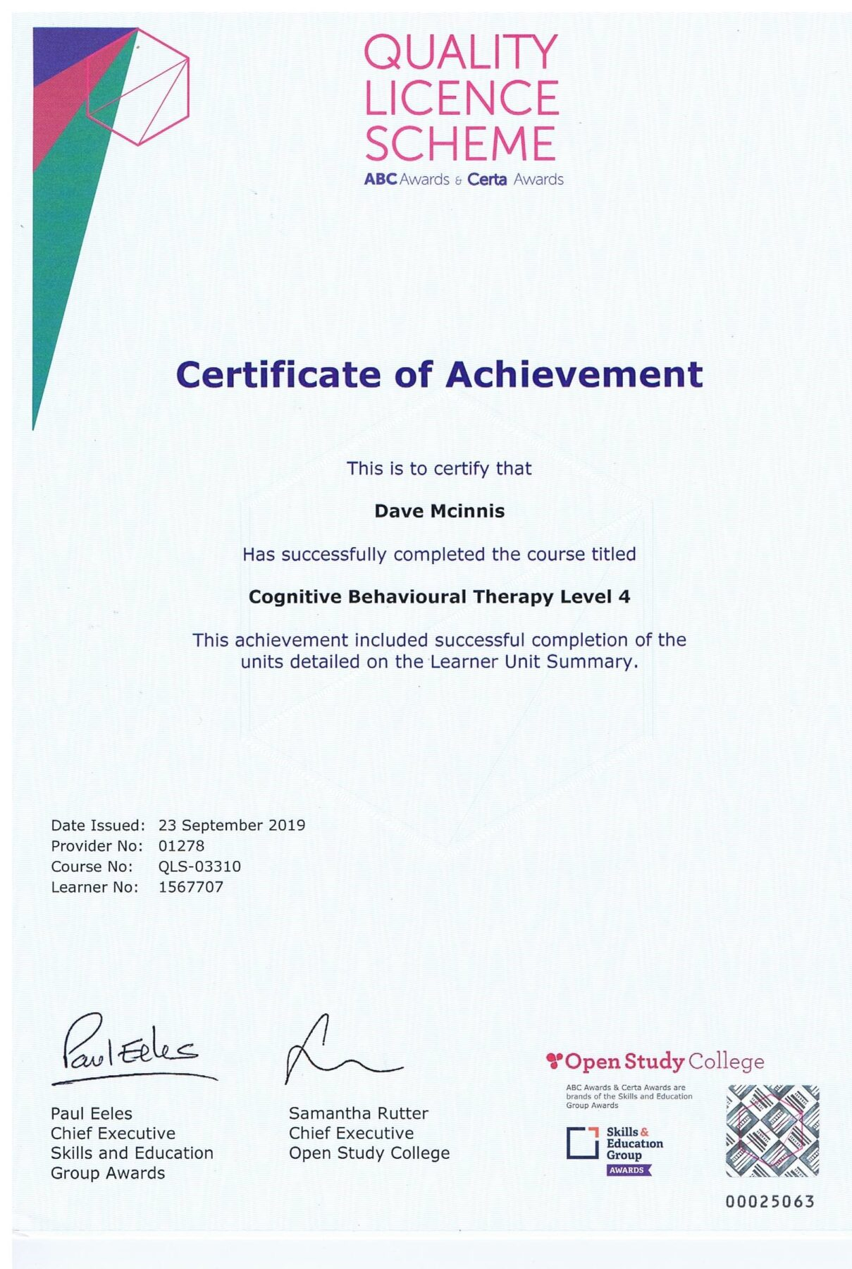 Certificate of Achievement, Cognitive Behavioural Therapy Level 4