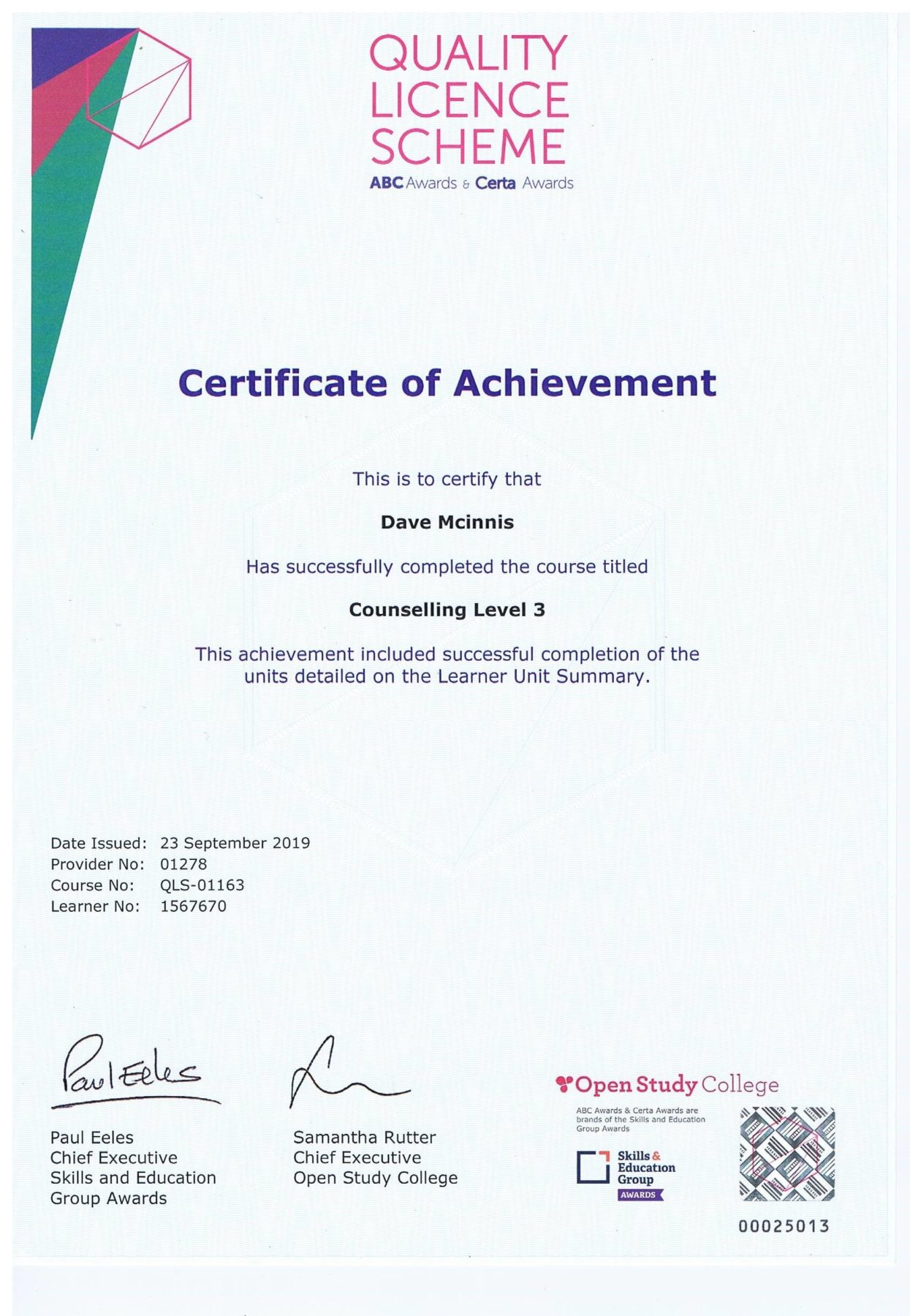 Certificate of Achievement, Counselling Level 3