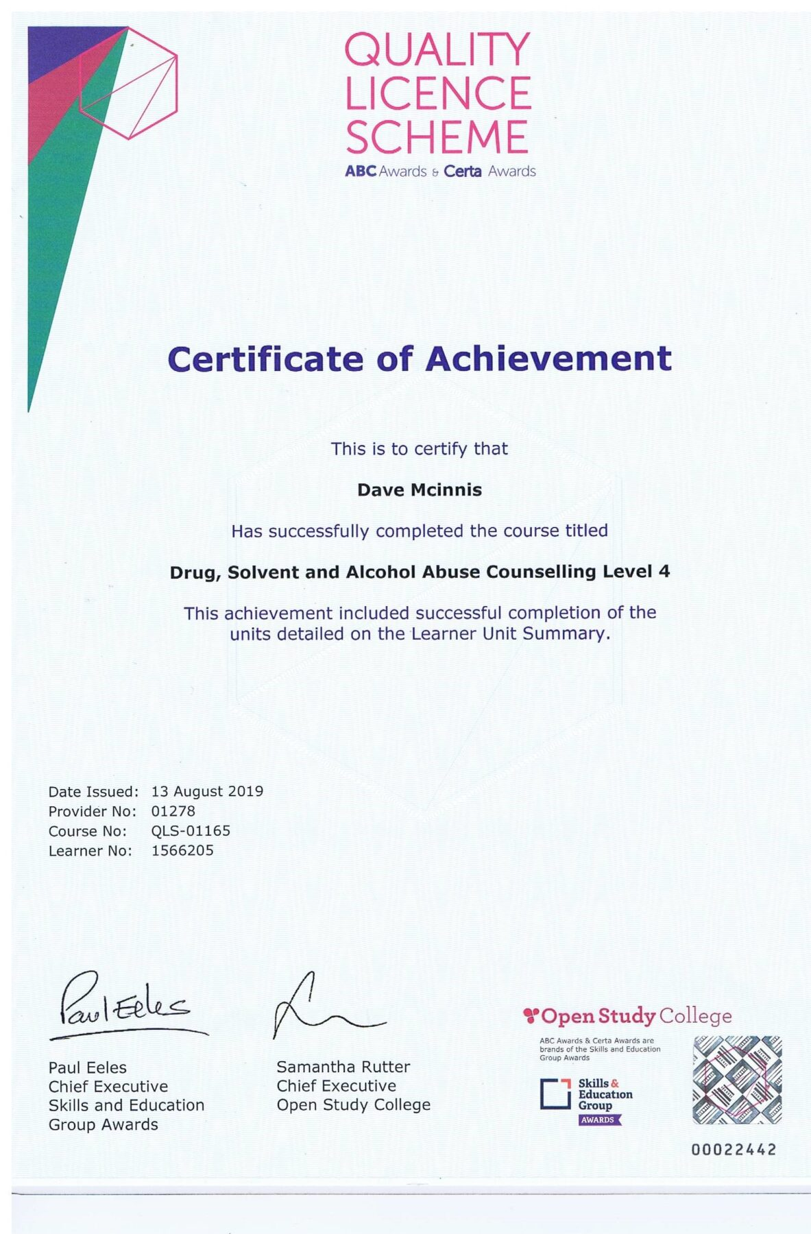 Certificate of Achievement Drug, Solvent & Alcohol Level 4