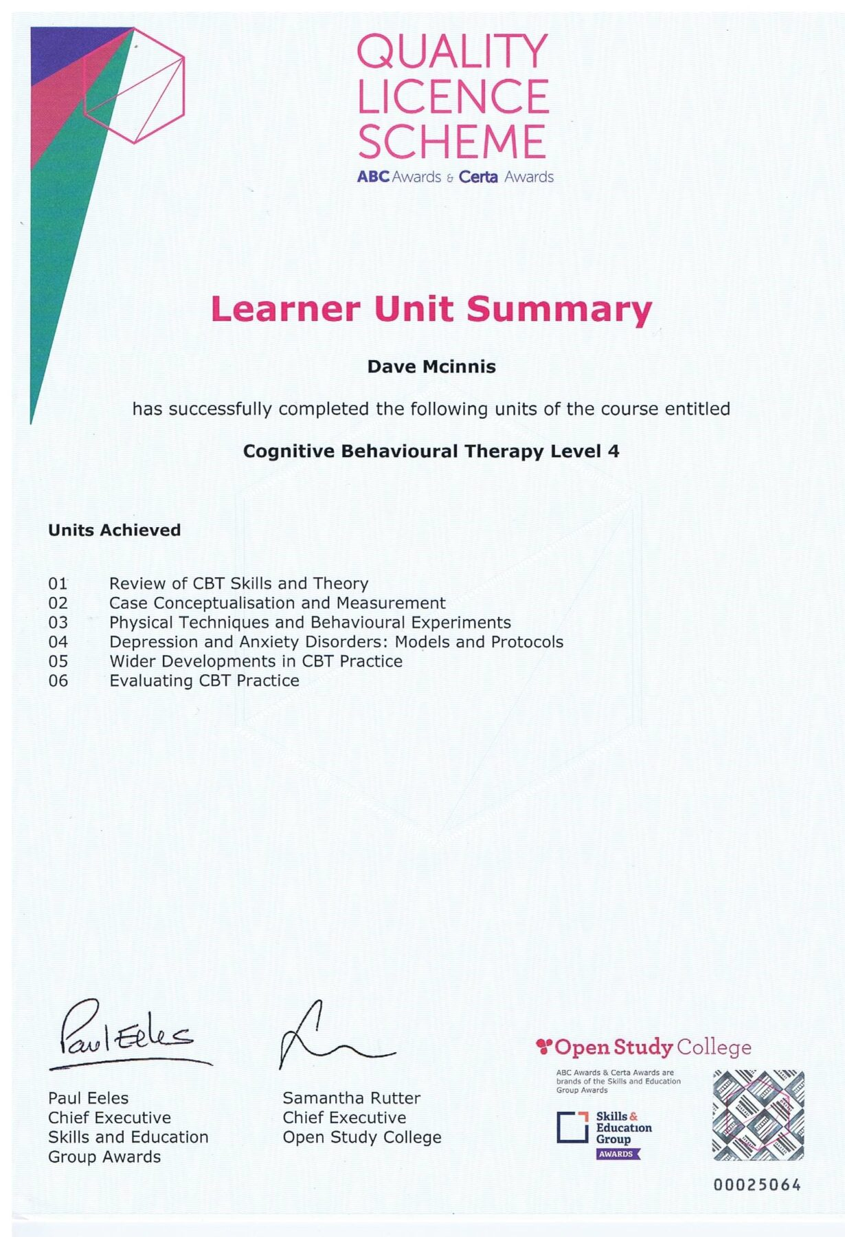 Learner Unit Summary, Cognitive Behavioural Therapy Level 4