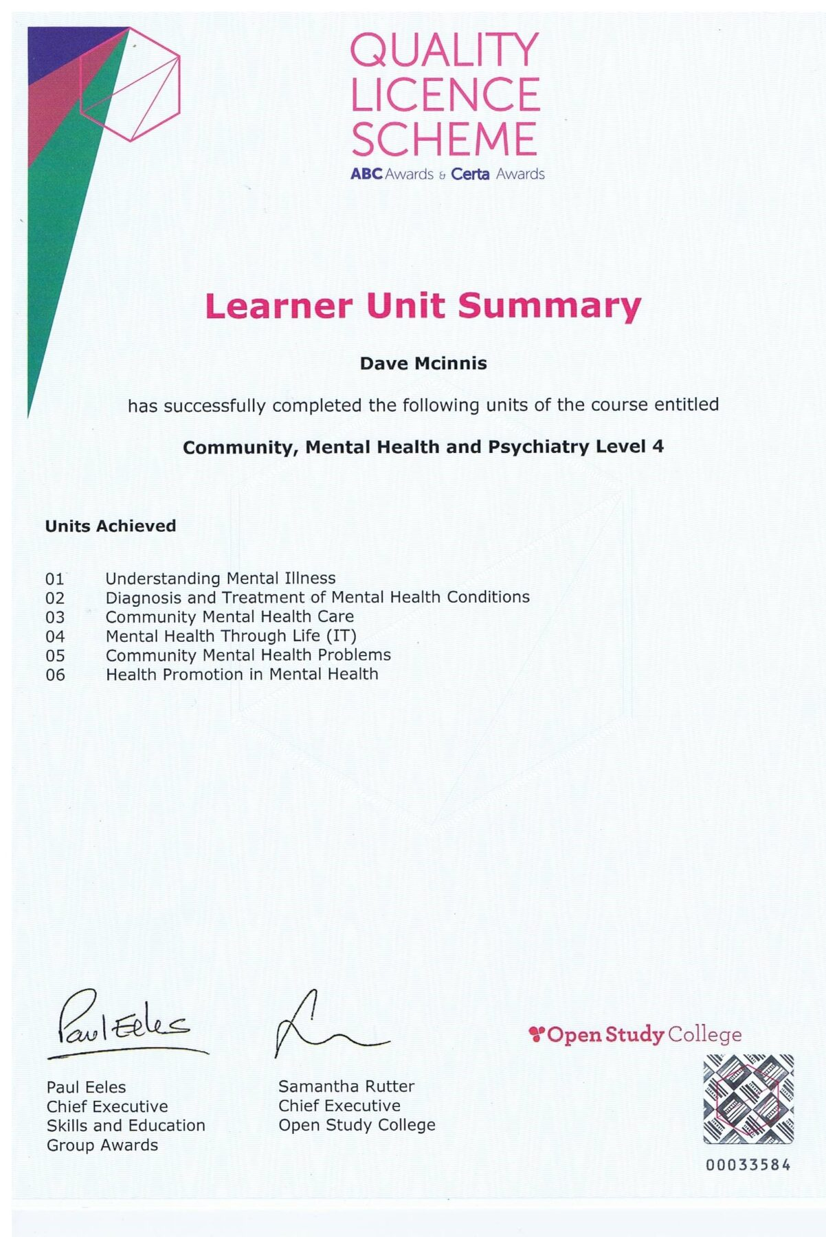 Learner Unit Summary, Community, Mental Health and Psychiatry Level 4