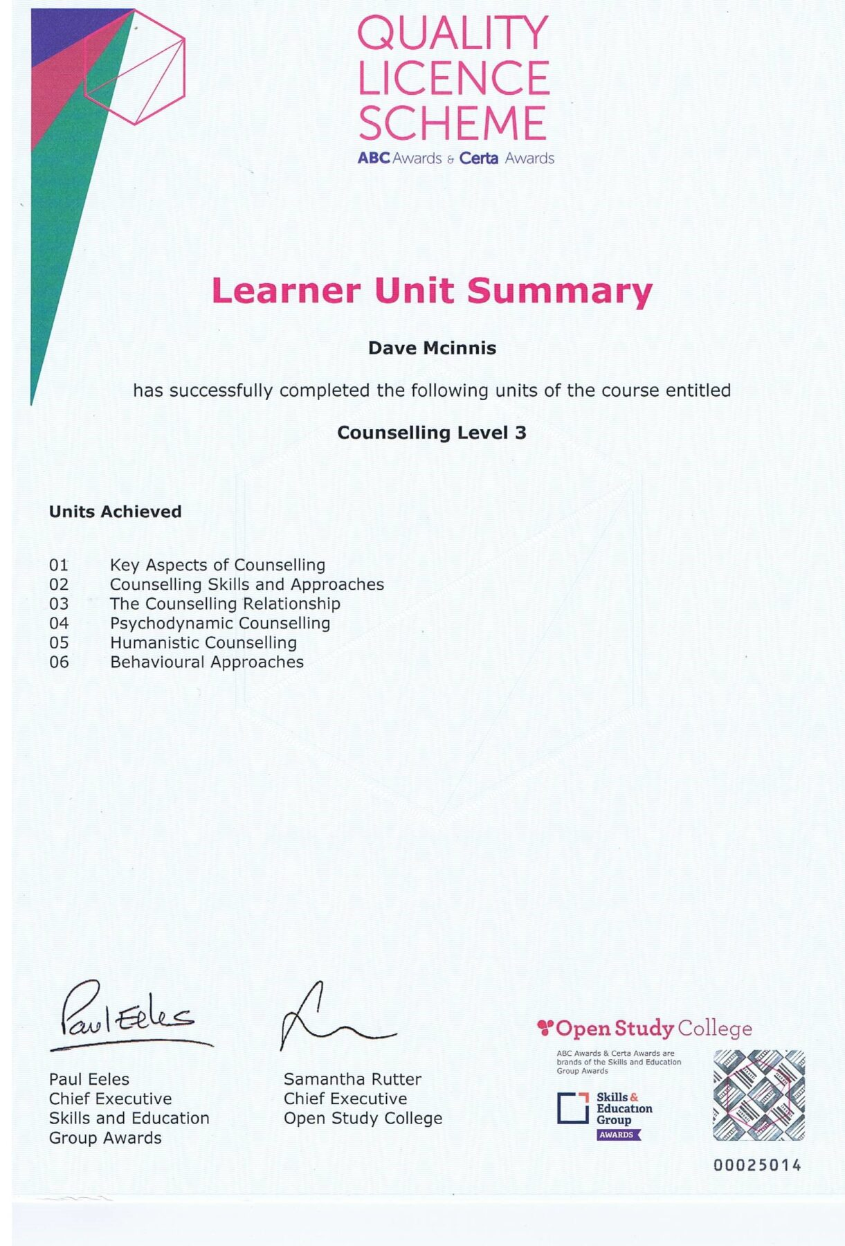 Learner Unit Summary, Counselling Level 3